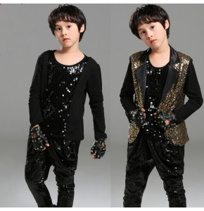 Boy kids gold with black sequins jazz hiphop dance costumes drummer singers host model show performance vest and pants