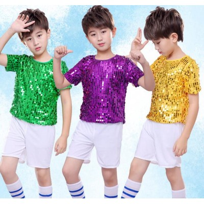 Boy kids green gold purple sequin jazz dance costumes singers cheerleaders school competition show performance tops and shorts