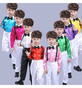 Boy kids host carnival party chorus stage performance shirts and pants flower boys recite performing costumes