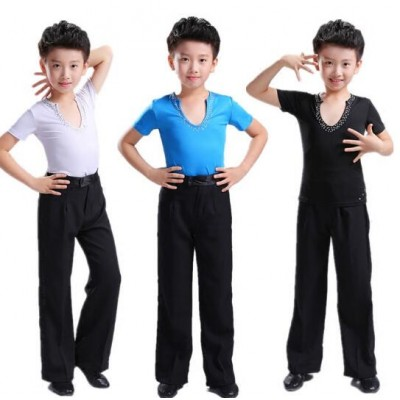 Boy latin dance tops and pants competition stage performance salsa chacha rumba dance shirts and trousers