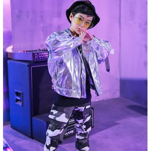 Boy silver jazz hiphop dance costumes street dance model show recital host gogo dancers stage performance jacket and pants