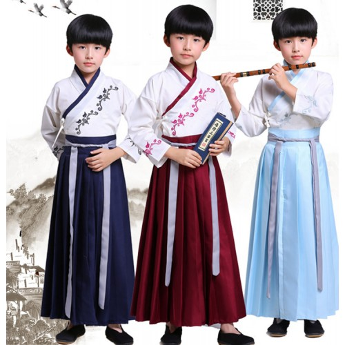 Boy stage performance hanfu kids children chinese confucicus school student drama cosplay robes dress costumes