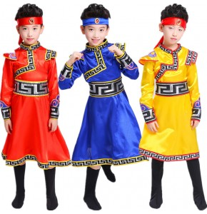Boys china folk dance costumes traditional ethnic Mongolian national photos drama cosplay grassland dance robes