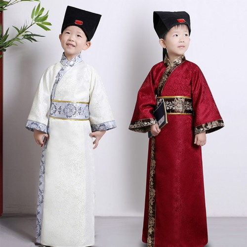 Boy's Chinese ancient traditional performance cosplay Hanfu ancient books children's studies  three-character scriptures costumes