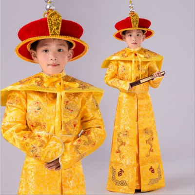 Boy's Chinese ancient traditional stage performance costumes qing dynasty drama cosplay photography gold dragon emperor robes for kids