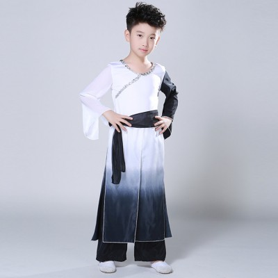 Boys Chinese folk dance costumes ancient taichi maritial school wushu stage performance singers dancers photos copaly dancing robes