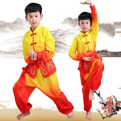 Boy's chinese folk dance costumes ancient traditional dragon dance wushu kungfu dance costumes tops and pants