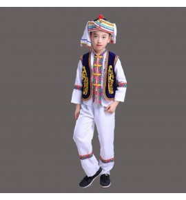 boy's  chinese folk dance costumes Bai miao hmong Nationality Costumes Minority Performance Costumes