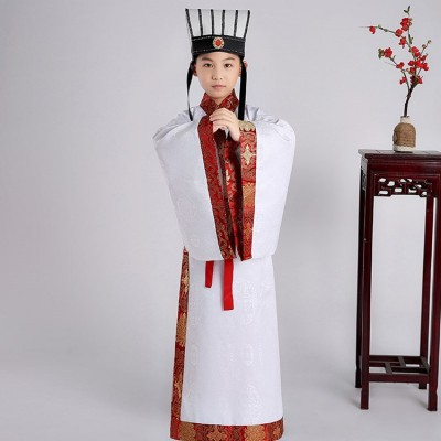 Boy's Chinese folk dance costumes children yellow red white hanfu emperor Confucius drama  ancient scholar cosplay costumes robes