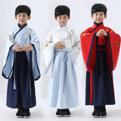 Boys chinese folk dance costumes hanfu confucisus school ancient traditional stage performance drama cosplay dress robes
