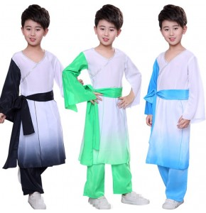 Boys Chinese folk dance costumes hanfu stage performance classical ancient traditional tops and pants