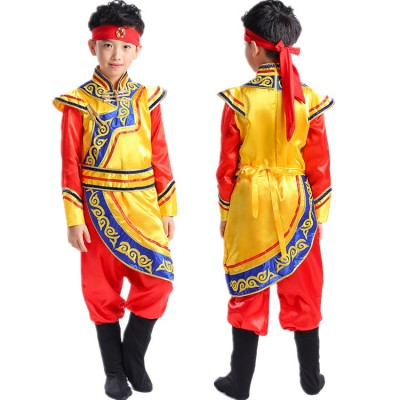 Boys chinese folk dance costumes traditional National Mongolian grassland dancing performance photos drama cosplay robes