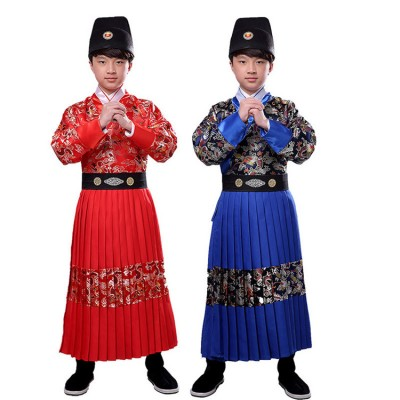 Boy's Chinese folk dance dragon dress warrior swordsmen hanfu ancient traditional stage performance competition drama cosplay robes