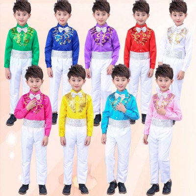 Boys chorus stage costumes Sequined singers Party dance clothing Kids Ballroom Performance dance costumes stage wear Outfits