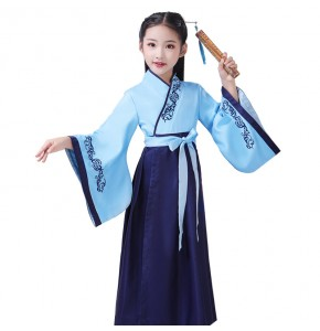 Boys girls chinese hanfu children stage performance chorus confucius shool competition reading  cosplay dresses