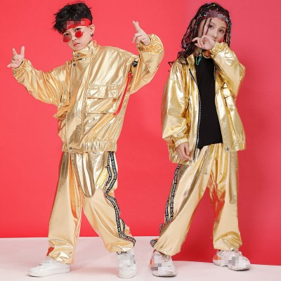 Boys girls gold hiphop jazz dance costumes jacket and pants kids children model carnival recital gogo dancers stage performance suits costumes