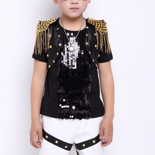 Boy's gold rivet fringes leather modern dance capes host singers stage performance hiphop drummer model show tops