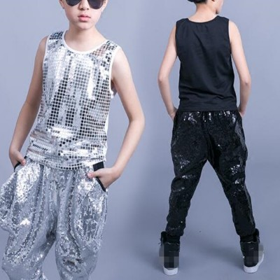 Boys hip hop street dance jazz singers performance outfits for kids children modern dance paillette vests and harem pants