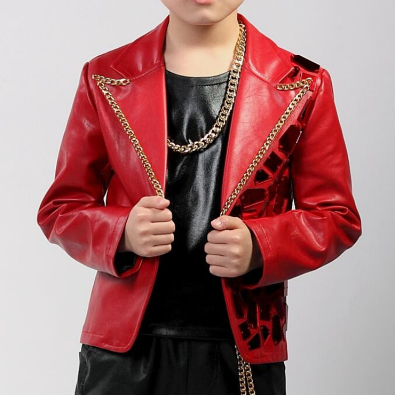 Boy's jazz dance coats red lens paillette pu leather hiphop street modern dance show singers host drummer performance jackets blazers