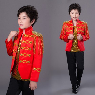 Boy's jazz dance costumes rivet modern dance drummer England style drummer party host singer performance jackets and pants