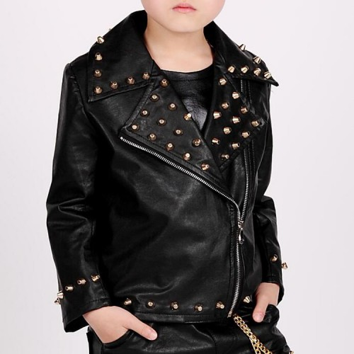 Boy's jazz dance jacket rivet pu leather host singers drummer modern dance drummer stage performance competition tops coats