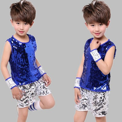Boys jazz dance outfits kids silver blue paillette modern dance street drummer stage performance rap singers dancers vest and shorts