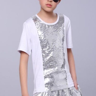 Boys jazz dance t shirts sequin black and white color kids children stage performance singers model show drummer competition tops