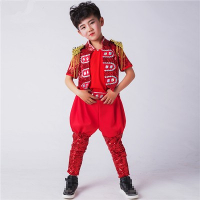 Boys jazz drummer performance costumes paillette modern dance singers hiphop model show cosplay tops and pants