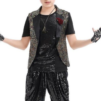 Boys jazz hip hip dancing waistcoats  school competition model show drummer performance rainbow paillette modern dance vest