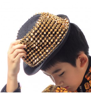 Boys jazz hiphop dance gold rivet hat street dancing magician stage performance competition drummer popping dancing hats