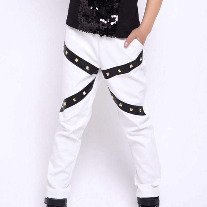 Boy's jazz modern dance hiphop dance leather rivet pants singers host white colored model show stage performance trousers