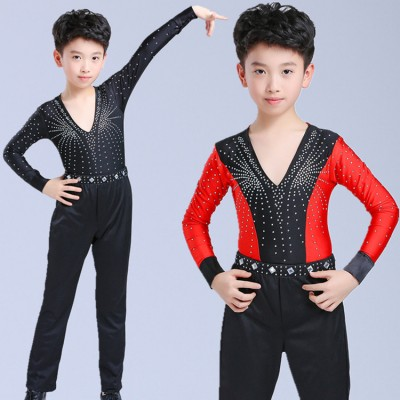 Boys latin ballroom dance tops and pants competition waltz tango salsa stage performance red black diamond shirts and trousers
