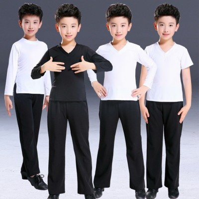 Boy's latin dance shirts and pants white black competition stage performance professional ballroom waltz chacha dancing outfits