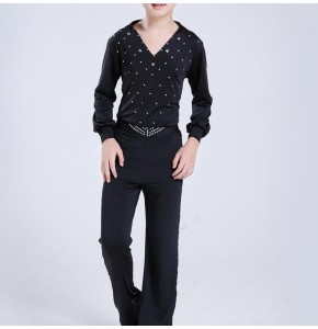 Boys latin dresses for kids children black diamond competition professional rumba chacha salsa dancing tops and pants