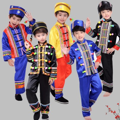 Boys' minority chinese folk costumes Zhuang performances children's Yi and Miao costumes dance costumes