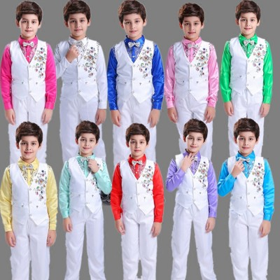 Boys Modern dance dress shirt vest suit boy chorus host costumes children stage student chorus performance reading outfits