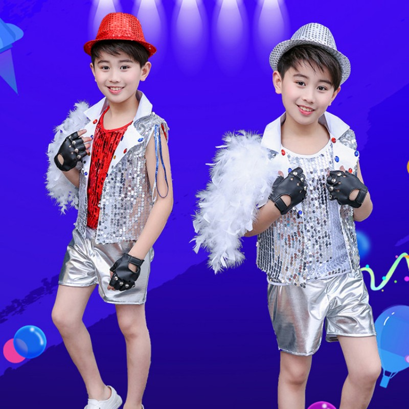 Boy's modern jazz dance costumes sequin kids children silver street drummer stage performance outfits costumes
