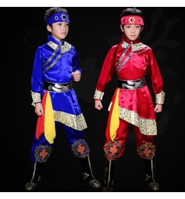 Boys Mongolian dance costumes Chinese ancient traditional Mongolia riding cosplay dance robes dresses