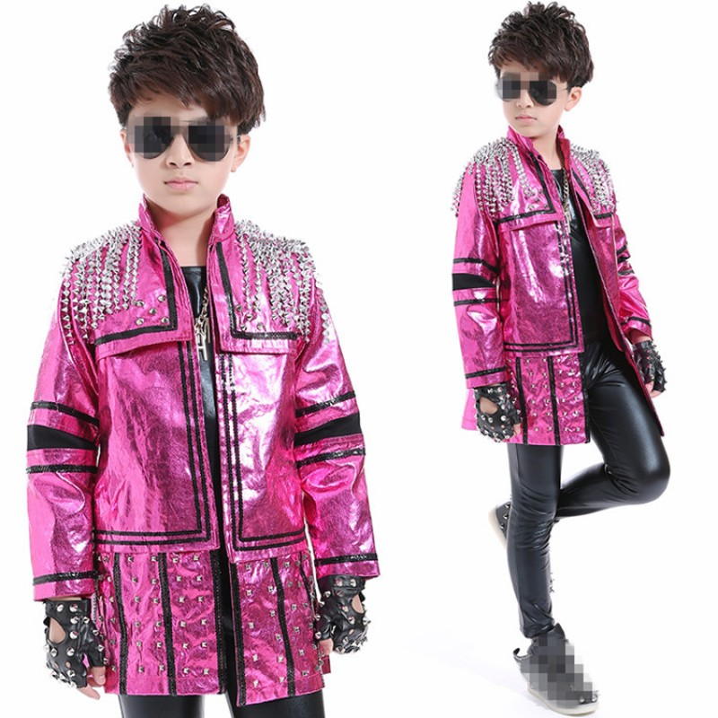 Boys street jazz dance costumes school competition kids children model show performance outfits pink rivet long coat leather black pants and t shirt