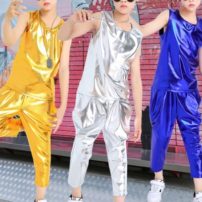 Boy's street jazz hiphop dance outfits modern dance kids children show stage performance gogo dancers costumes