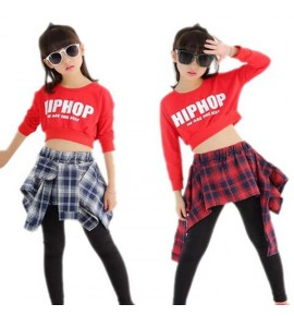 Child Girl Hip Hop Dance Costumes Students Jazz Clothes Modern Dancing Tops & Culottes 2PCS Set for Performance and Training
