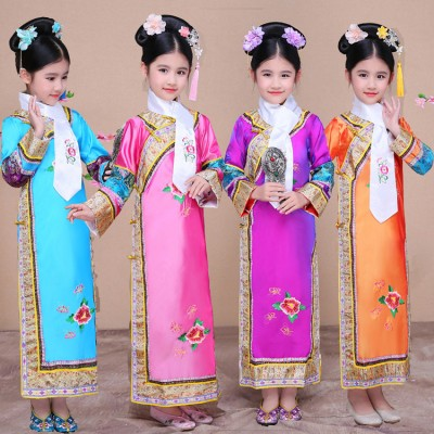 Child Traditional chinese Princess Dance Costume Girl Qing Dynasty Costume Children Hanfu Ancient Court Dress for Cosplay Stage Show