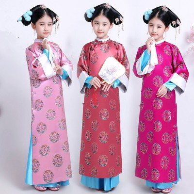 Child Traditional Princess Dance Costume Girl Qing Dynasty Costume Children Hanfu Ancient Court Dress for Cosplay Stage Show