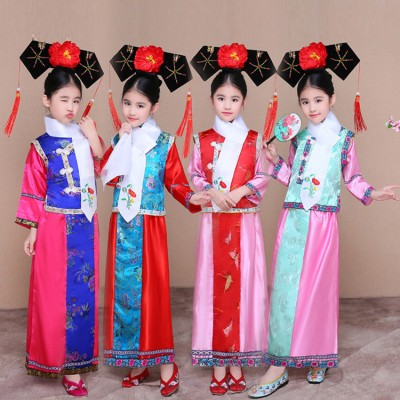 Child Traditional Princess Dance Costume Girls Qing Dynasty Costume Children Hanfu Ancient Court Dress for Cosplay Stage Show