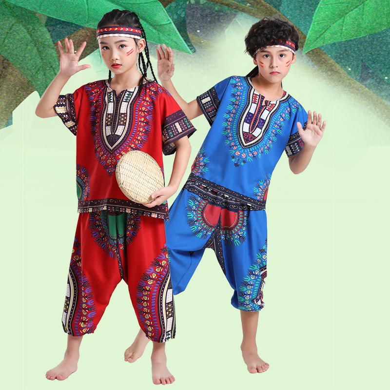 Children African drum performance costumes ethnic style Christmas Thailand dance drums kids performance clothing