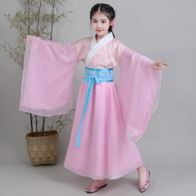 Children ancient traditional chinese folk dance costumes hanfu pink mint fairy drama party cosplay stage performance princesses costumes