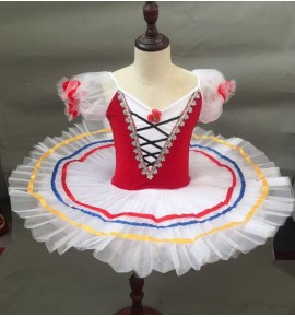 Children ballet dance dress little swan lake white with red tutu skirt ballet dance costumes robe de danse classique pour enfants