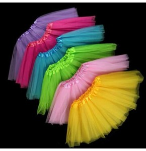 Children ballet dance skirts for kids girls candy color tulle stage performance modern dance skirts
