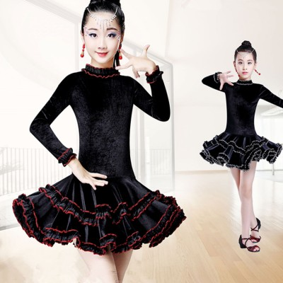 Children ballroom latin dance dresses for girls stage performance school competition gymnastics practice salsa rumba chacha dance skirt dress