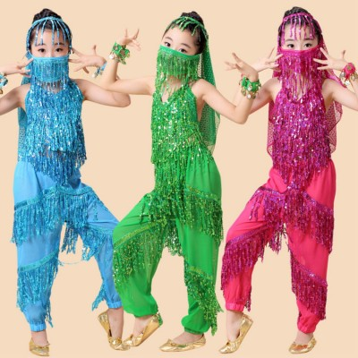 Children belly dance costumes for girls kids red turquoise indian belly dance fringes paillette tops and pants